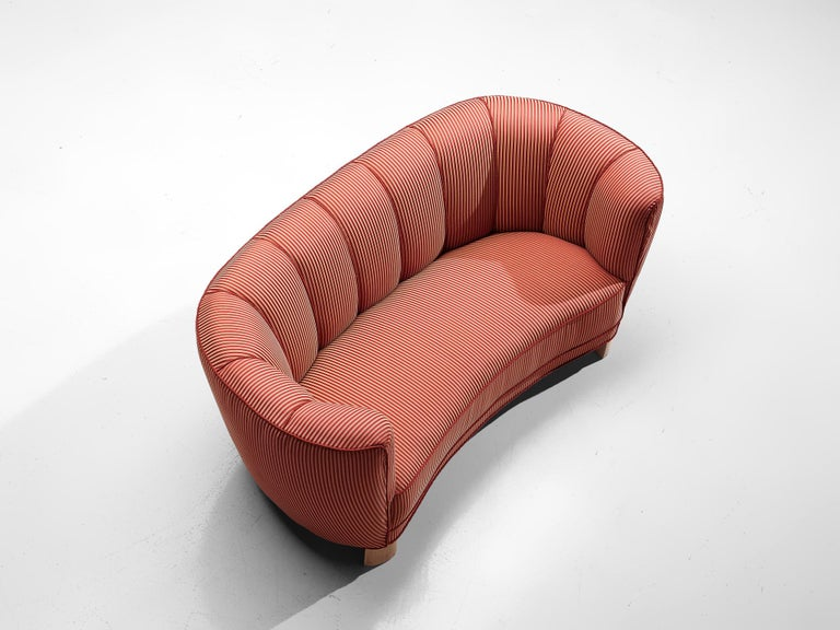 Fabric Danish Banana Sofa in Striped Upholstery For Sale