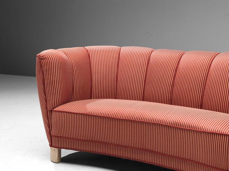 Danish Banana Sofa in Striped Upholstery For Sale 1