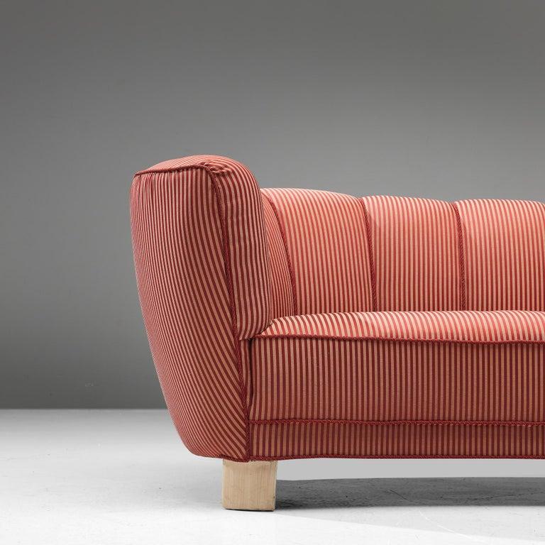 Danish Banana Sofa in Striped Upholstery For Sale 2