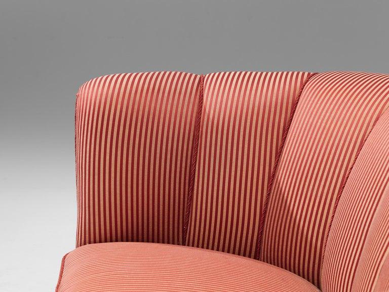 Danish Banana Sofa in Striped Upholstery For Sale 3