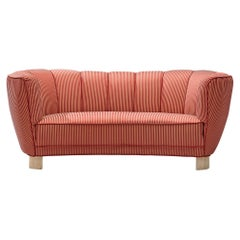 Danish Banana Sofa in Striped Upholstery