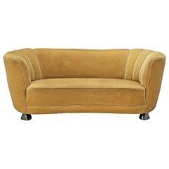 Danish Banana Sofa in Velour Upholstery