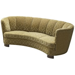 Danish Banana Sofa with Classic Patterned Upholstery
