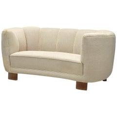 Danish Banana Sofa with Eggshell-White Upholstery