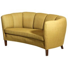 Danish Banana Sofa Yellow Scandinavian Design, 1960s