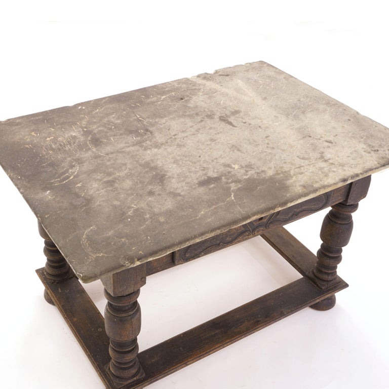 Danish Baroque Stone Table with Grey Stone Top above Black Painted Lower Part In Good Condition For Sale In Aabenraa, DK