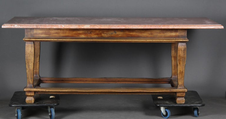 19th Century Danish Baroque Style Table with Red Stone Tabletop For Sale