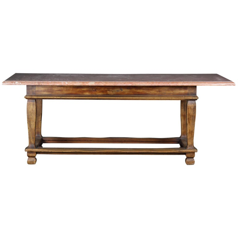 Danish Baroque style table with red stone tabletop.