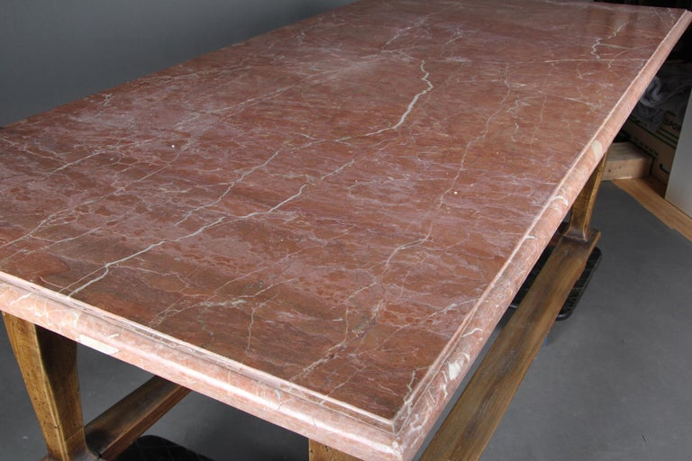 Danish Baroque Style Table with Red Stone Tabletop For Sale 1