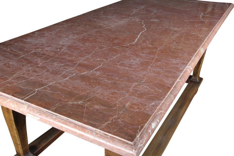 Danish Baroque Style Table with Red Stone Tabletop In Good Condition For Sale In Haddonfield, NJ