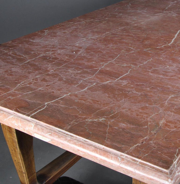 Danish Baroque Style Table with Red Stone Tabletop For Sale 2
