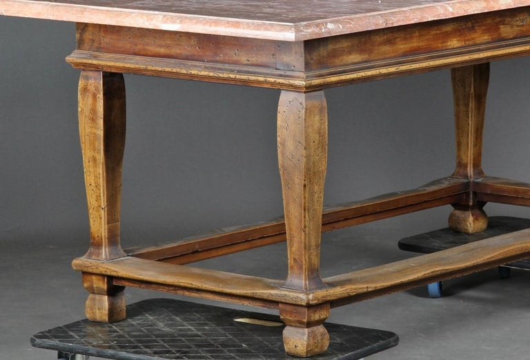 Danish Baroque Style Table with Red Stone Tabletop For Sale 3