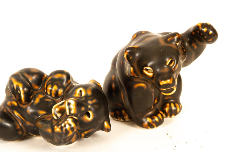 Danish Bear Cubs Figurines by Knud Kyhn for Royal Copenhagen, 1950s, Set of 4 In Good Condition For Sale In Nibe, Nordjylland