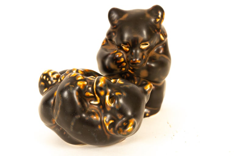 Mid-20th Century Danish Bear Cubs Figurines by Knud Kyhn for Royal Copenhagen, 1950s, Set of 4 For Sale