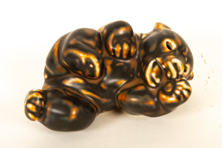Ceramic Danish Bear Cubs Figurines by Knud Kyhn for Royal Copenhagen, 1950s, Set of 4 For Sale