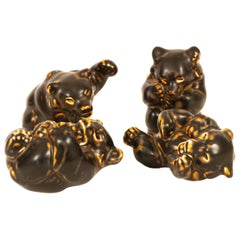 Danish Bear Cubs Figurines by Knud Kyhn for Royal Copenhagen, 1950s, Set of 4