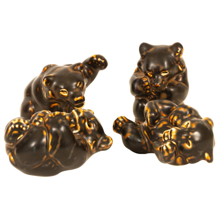 Danish Bear Cubs Figurines by Knud Kyhn for Royal Copenhagen, 1950s, Set of 4 For Sale