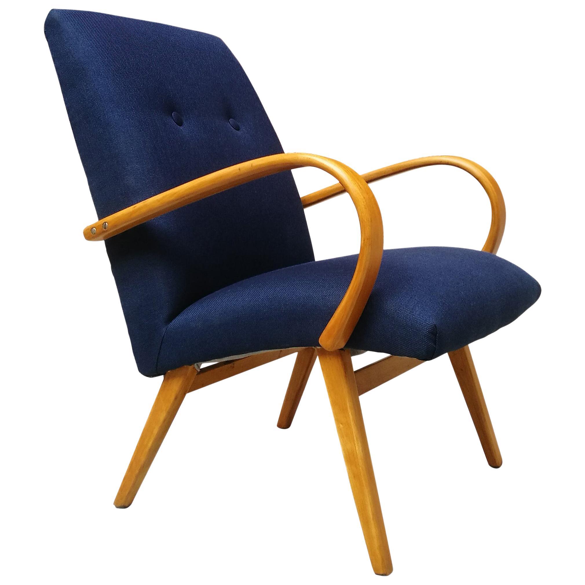 Danish Beech and Blue Cotton, Restored Armchair, 1960s