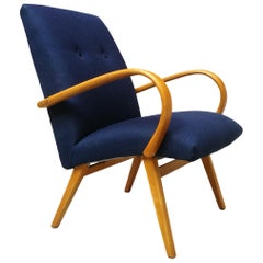 Danish Beech and Blue Cotton, Restored Armchair, 1960s