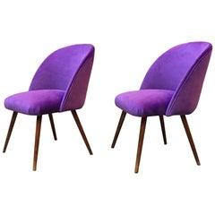 Danish Beech and Violet Velvet Upholstery Armchairs, 1960s