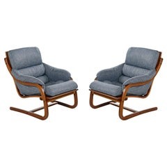 Danish Bent Teak Cantilever Lounge Chair Set by Stouby Polster, Fully Restored