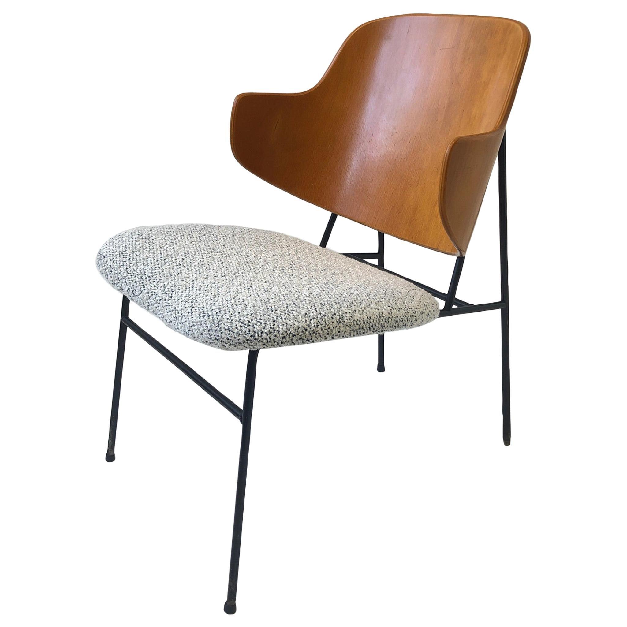 Danish Bentwood and Steel Frame Lounge Chair by Ib Kofod-Larsen