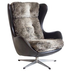 Danish Black Leather and Faux Fur Swivel Armchair