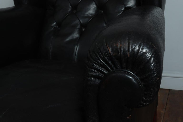 Mid-20th Century Danish Black Leather Buttoned Club Chair, circa 1940 For Sale