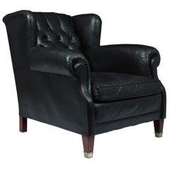 Danish Black Leather Buttoned Club Chair, circa 1940
