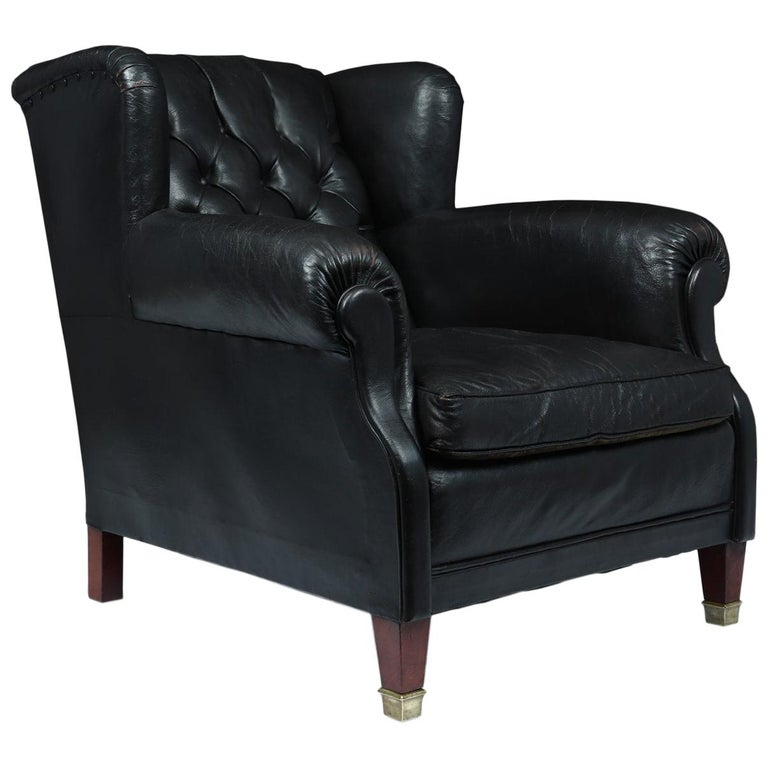 Danish Black Leather Buttoned Club Chair, circa 1940 For Sale