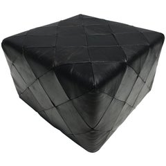 Danish Black Leather Patchwork Ottoman Stool