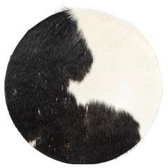 Danish Black Leather Pouf by Ivan Schlechter