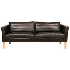 Danish Black Leather Sofa by Fritz Hansen for Stouby