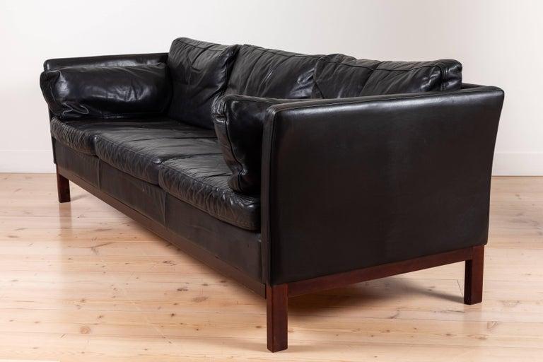 Mid-Century Modern Danish Black Leather Sofa by Mogens Hansen For Sale