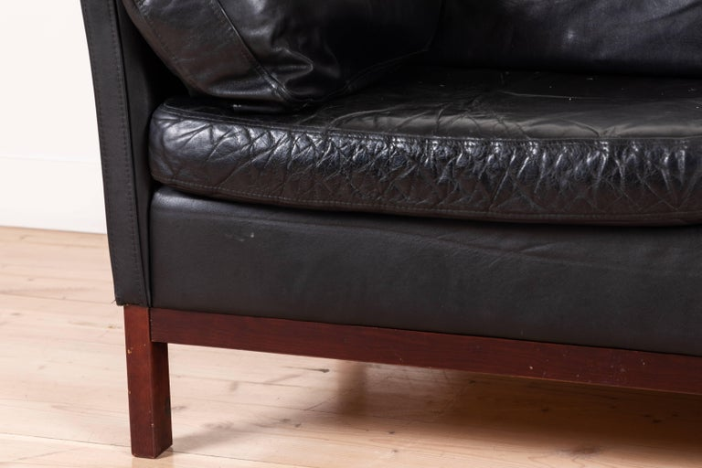 Danish Black Leather Sofa by Mogens Hansen For Sale 2
