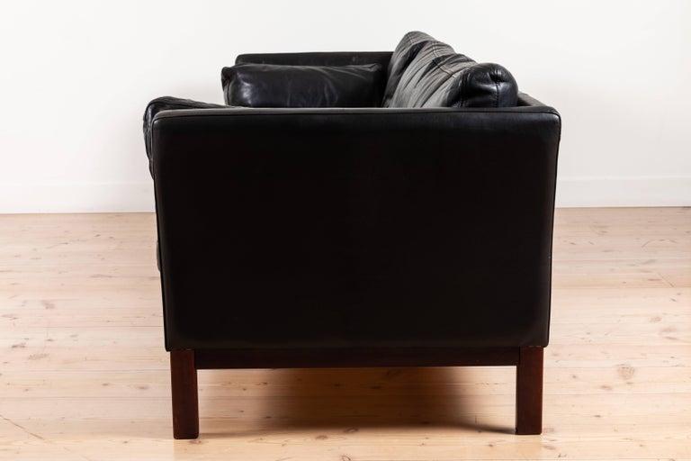 Danish Black Leather Sofa by Mogens Hansen For Sale 3