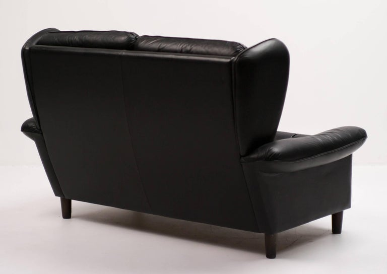 Mid-20th Century Danish Black Leather Sofa For Sale