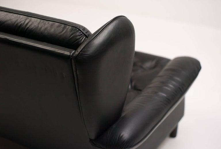 Danish Black Leather Sofa For Sale 1