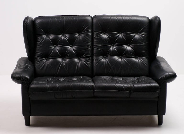 Danish Black Leather Sofa For Sale 2