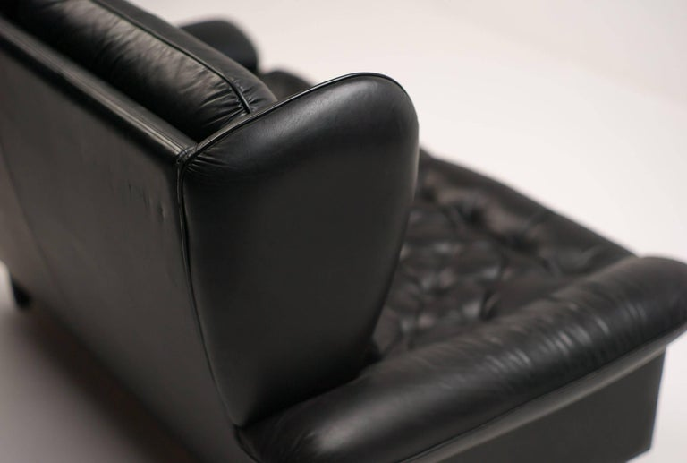 Danish Black Leather Sofa For Sale 3