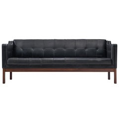 Danish Black Leather Sofa with Rosewood Frame, 1960s