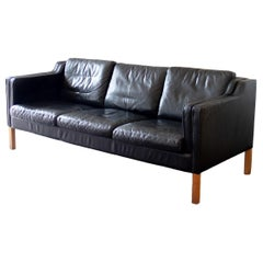 Danish Black Leather Three-Seat Sofa, 1950s