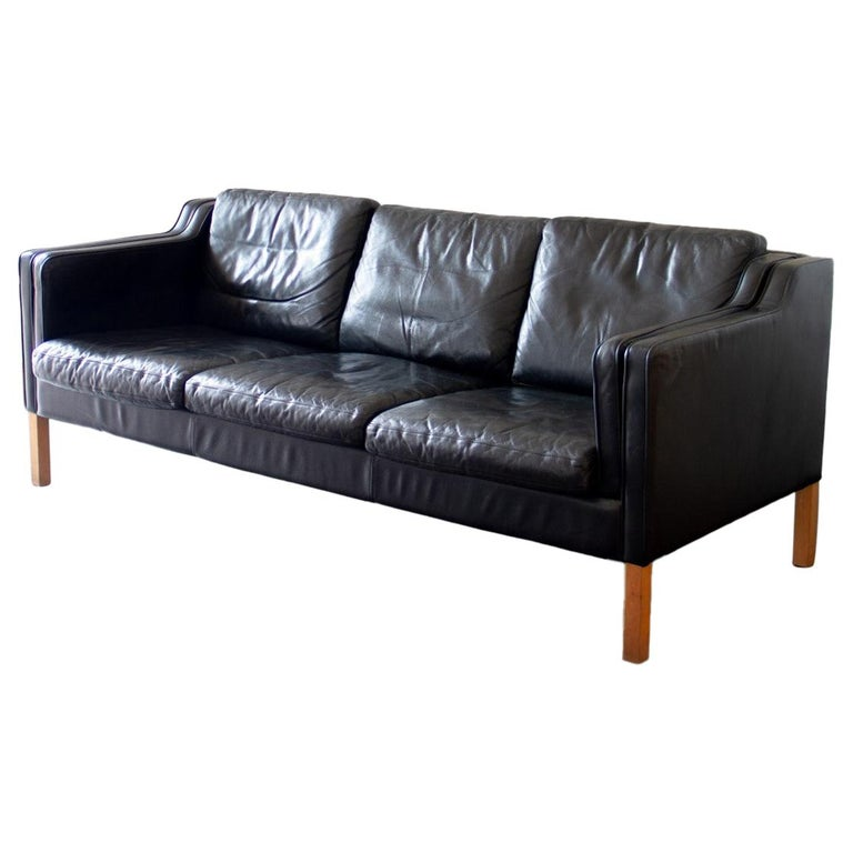 Danish Black Leather Three-Seat Sofa, 1950s For Sale