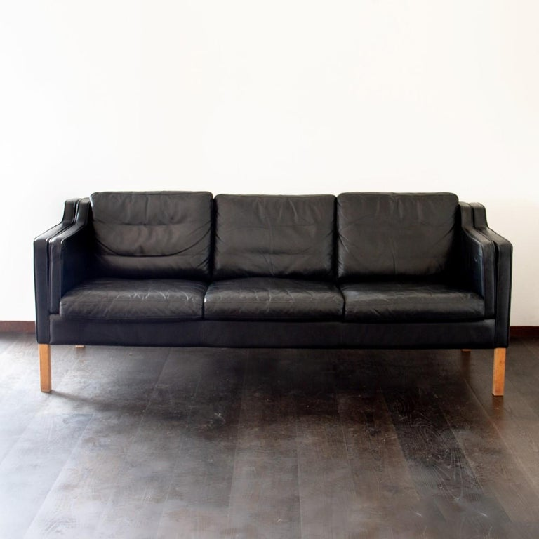 Scandinavian Modern Danish Black Leather Three-Seat Sofa, 1950s For Sale