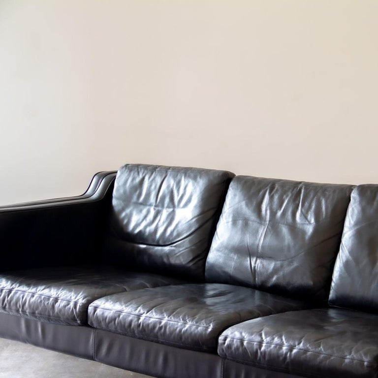 20th Century Danish Black Leather Three-Seat Sofa, 1950s For Sale