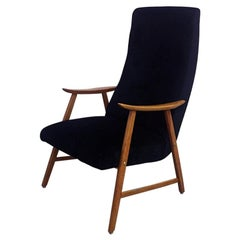 Danish Black Velvet and Solid Beech Armchair, 1960s
