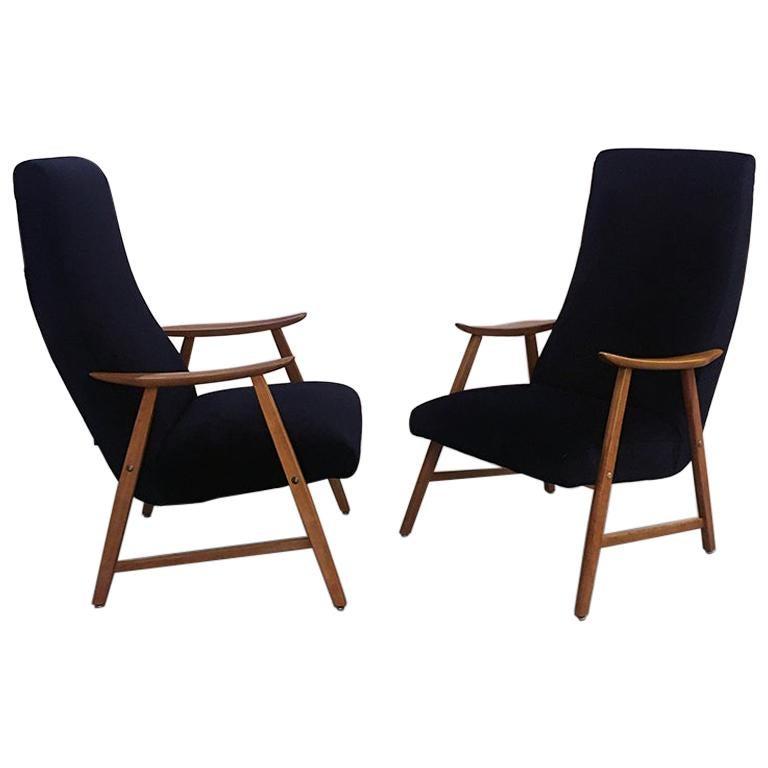 Danish Black Velvet and Solid Beech Armchairs, 1960s