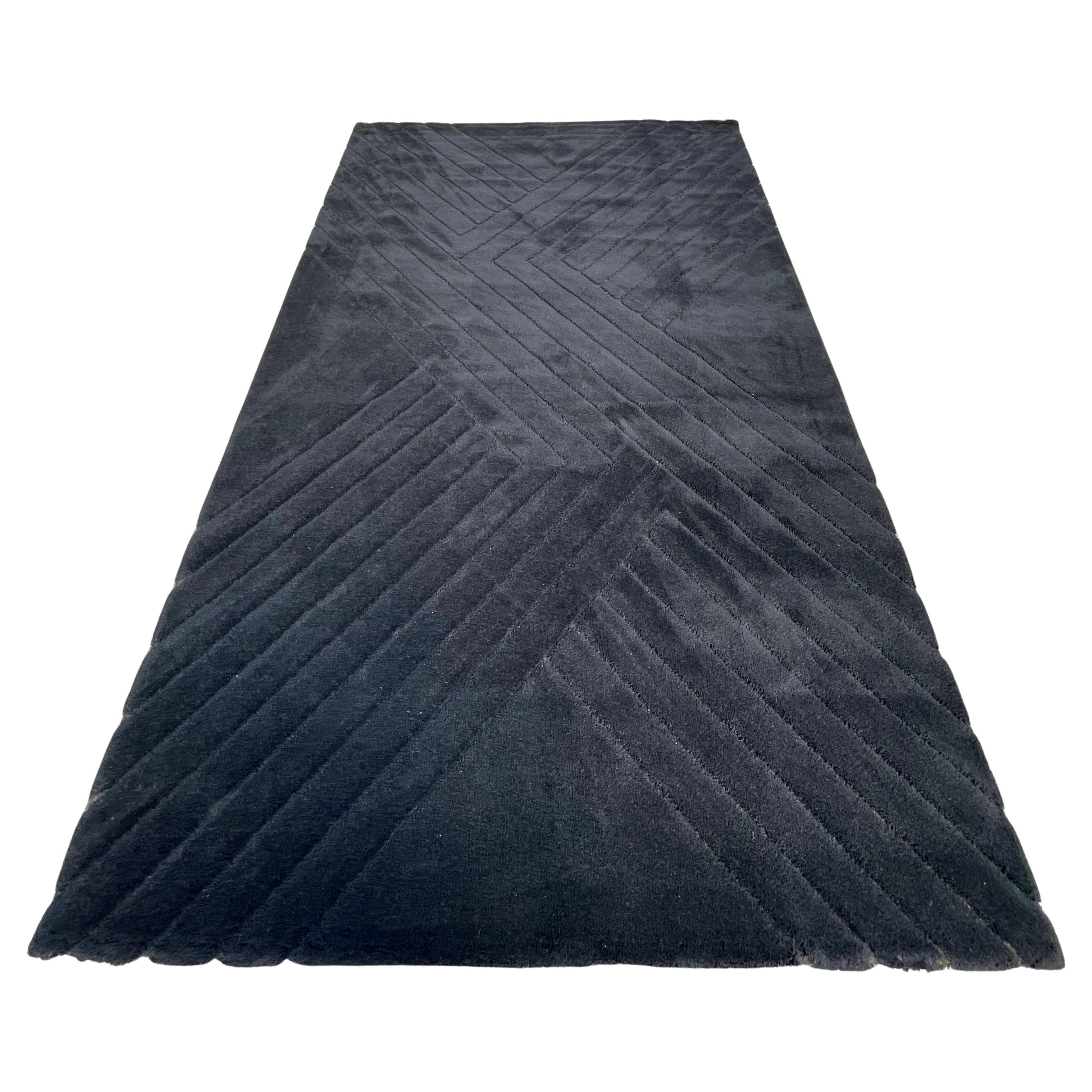 Danish Black Wool Sculpted Rya Rug