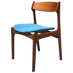 Danish Blonde Teak Chair with Raised Seat in Blue Velvet, 1960s