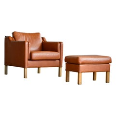 Danish Borge Mogensen Style Model 2421 Cognac Leather Easy Chair and Ottoman